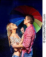 Couple  under  rain with umbrella .