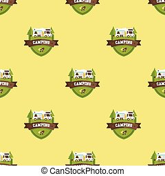 motorhome pattern - Seamless pattern with motorhome vector...