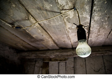 Lamp in old wooden house