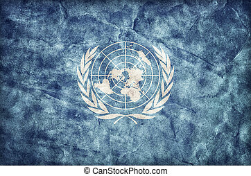 Grunge United Nations flag, parchment paper texture. UN
