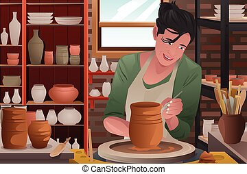 Young woman working on a pottery - A vector illustration of...