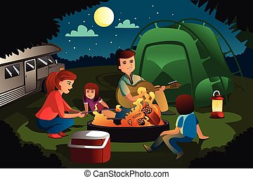 Family camping Vector Clipart Royalty Free. 1,736 Family ...