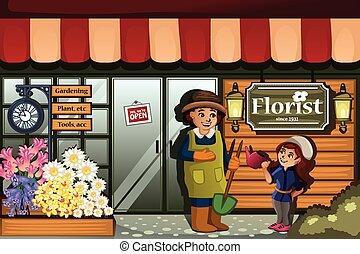 Gardener in a flower shop with kid