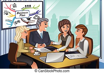 Business people in a meeting - A vector illustration of...