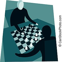 Chess game - Oblique image of two opponents playing a game...