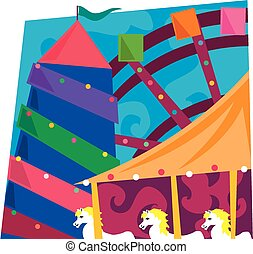 Funfair - A brightly coloured mosaic style graphic of a...
