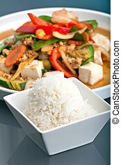 Thai Stir Fry and Jasmine Rice - Fresh Thai food stir fry...