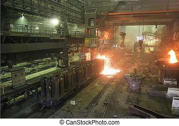 Smelting metal casting in a metallurgical plant
