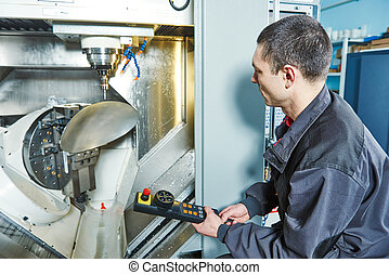 industrial worker operating machine tool - manufacture...