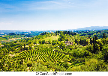 Traditional Toscana Italy landscape. Hills, fields and sky.