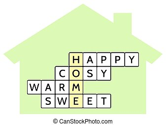 Crossword puzzle for the word Home and words Happy, Cosy,...