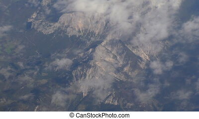 Alps mountains from airplane - View of European highest...