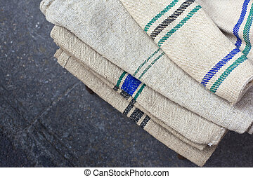Linen cloths - Old linen cloths in a flea market