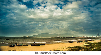 boats on the beach of Da Nang city, Vietnam - Traditional...