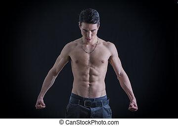 Topless, muscular, hombre, Apretar, puños, Abajo, en,...