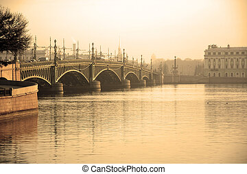 Trinity Bridge at Saint-Petersburg, Russia. Sepia toned