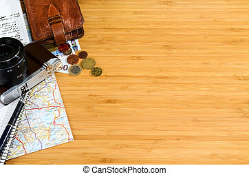 travel preparations - getting ready for travel, money, map...