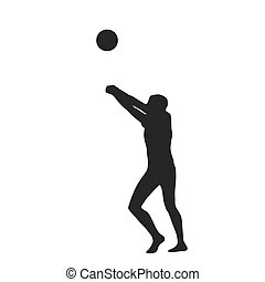 Volleyball player. Vector silhouette