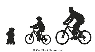 Father and kids on bike. Vector silhouette