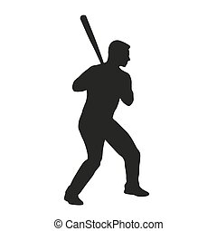 Baseball batter. Vector silhouette