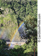 Barron Gorge with rainbow on a misty day