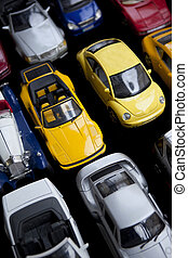 Toy cars - Close up of retro toy cars in a garage