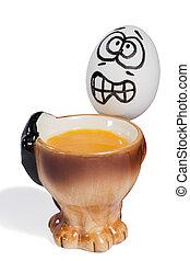 huevo, con, Un, asustado, cara,