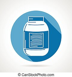 Vector icon for creatine supplement - Round blue flat vector...