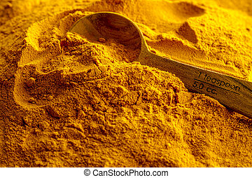 organique, jaune, curcuma, poudre,