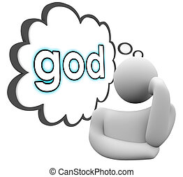God Thinker Thought Cloud Faith Religion Belief