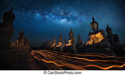 Candly festival - Thai people in Candly festival with Buddha...