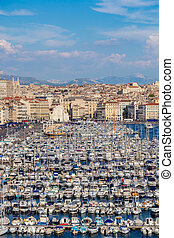 Old port in Marseille, France - Aerial panoramic view on old...