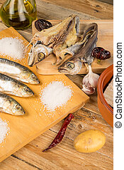 Assorted dried fish - Assorted salt cured fish with...