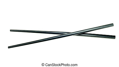 black chop sticks isolated on a white background