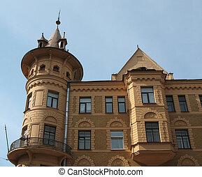 The Art Nouveau house with picturesque turret-oriel