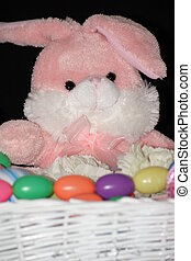 Pink Peter Cottontail - Close up of pink stuffed bunny with...