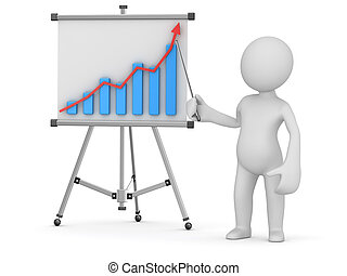 White man pointing business chart on whiteboard. 3d render...