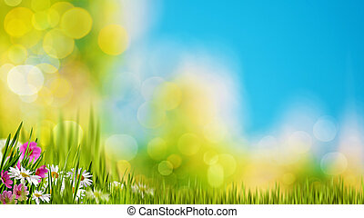Natural backgrounds with green foliage under bright summer sun
