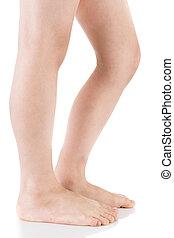 Asian child leg. Studio shot.