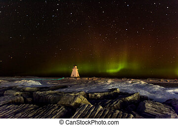 Northern Lights Lake Huron - Aurora Borealis over Lake Huron...