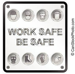 Health and Safety Sign - Monochrome construction...