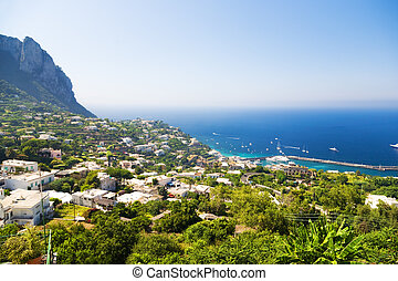 Capri island in Italy. View on a city and coast.