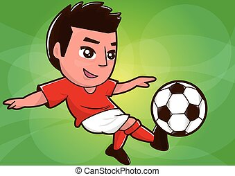 cartoon soccer player kicking ball