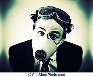 Crazy man in protective mask and neck tie. High contrast...