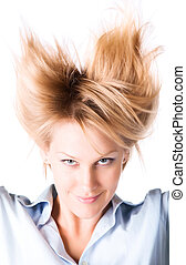 Cheerful woman with turn up hair. Isolated on white.
