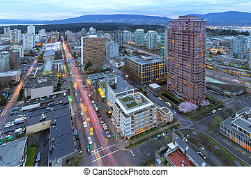 Vancouver BC Cityscape at Dusk - Vancouver British Columbia...