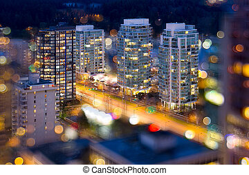 Vancouver BC City Lights During Blue Hour