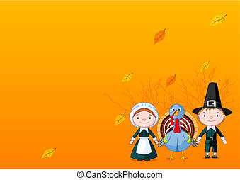 Pilgrims background - Pilgrims holding a wings (hands) with...