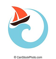 Sailing boat on the water, logo - Sailing boat on the water,...