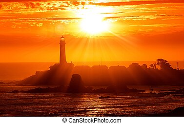 California Lighthouse Sunset - California Scenic Lighthouse...